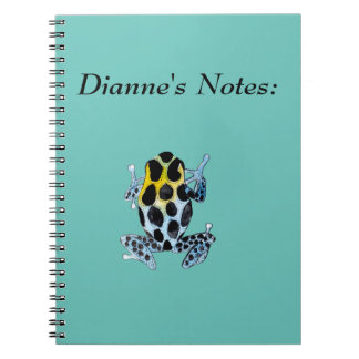 Playfully Adorable Spotty Colorful Watercolor Frog Spiral Note Books