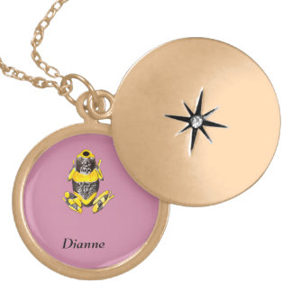 Playfully Adorable Yellow & Black Watercolor Frog Locket Necklace