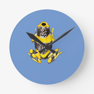 Playfully Adorable Yellow & Black Watercolor Frog Round Clock