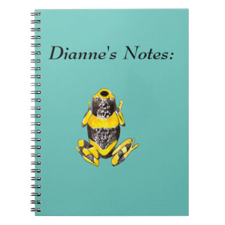 Playfully Adorable Yellow & Black Watercolor Frog Spiral Notebook