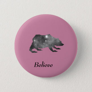 Playfully Beautiful Black Universe Bear 6 Cm Round Badge