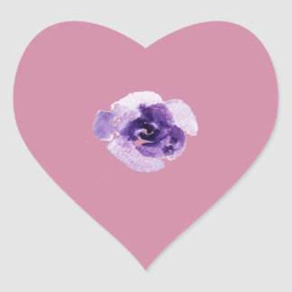 Playfully Beautiful Purple Rose Floral Watercolor Heart Sticker