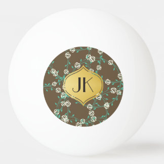 Playfully Cool Floral Gold Monogram Ping Pong Ball