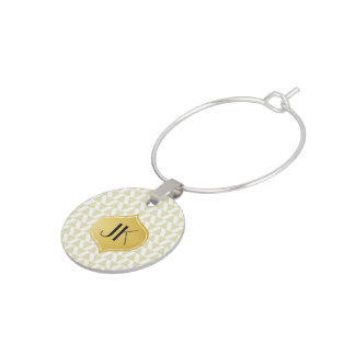 Playfully Cool Geometric Shapes Gold Monogram Wine Charm