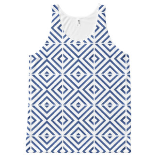 Playfully Cool Geometric Watercolor Blue All-Over Print Tank Top