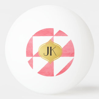 Playfully Cool Geometric Watercolor Gold Monogram Ping Pong Ball