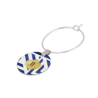 Playfully Cool Geometric Watercolor Gold Monogram Wine Charm