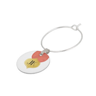 Playfully Cool Geometric Watercolor Gold Monogram Wine Charms
