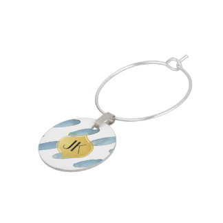 Playfully Cool Geometric Watercolor Gold Monogram Wine Glass Charm