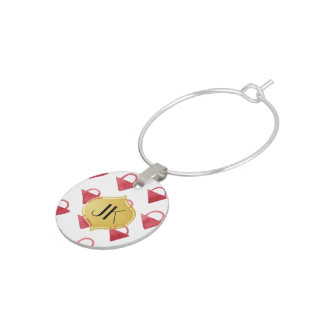 Playfully Cool Geometric Watercolor Gold Monogram Wine Glass Charms
