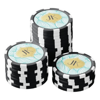 Playfully Cool Geometric Waves Gold Monogram Poker Chips