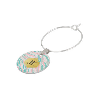 Playfully Cool Geometric Waves Gold Monogram Wine Charm