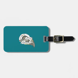 Playfully Cool Girly Grunge Bird Skull Luggage Tag
