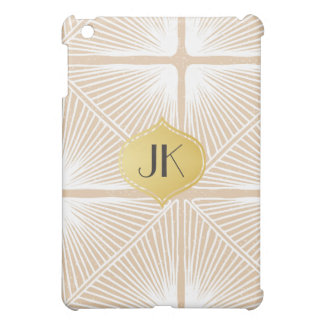 Playfully Cool Hand Drawn Pattern Gold Monogram Cover For The iPad Mini