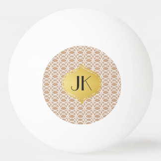 Playfully Cool Lines Gold Monogram Ping Pong Ball