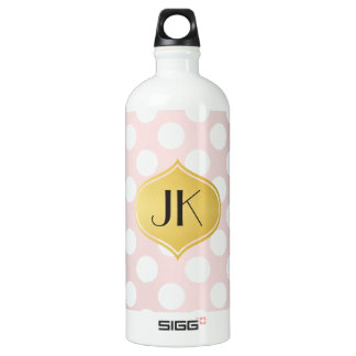 Playfully Cool Romantic Pattern Gold Monogram Water Bottle