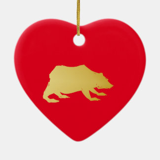 Playfully Elegant Hand Drawn Gold Actionable Bear Ceramic Heart Decoration