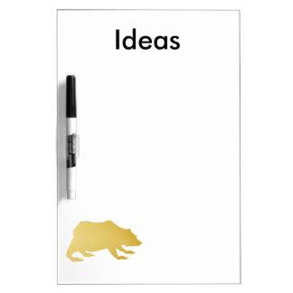 Playfully Elegant Hand Drawn Gold Actionable Bear Dry-Erase Whiteboard