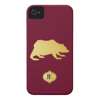 Playfully Elegant Hand Drawn Gold Actionable Bear iPhone 4 Case-Mate Cases