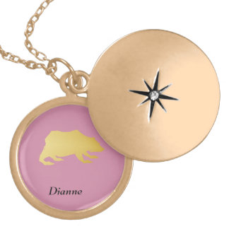 Playfully Elegant Hand Drawn Gold Actionable Bear Locket Necklace