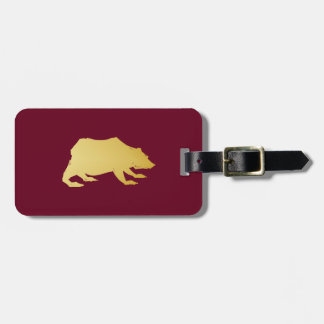 Playfully Elegant Hand Drawn Gold Actionable Bear Luggage Tag