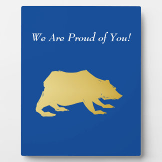 Playfully Elegant Hand Drawn Gold Actionable Bear Plaque