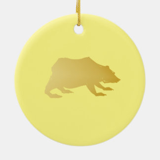 Playfully Elegant Hand Drawn Gold Actionable Bear Round Ceramic Decoration