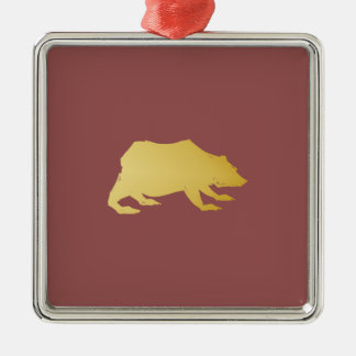 Playfully Elegant Hand Drawn Gold Actionable Bear Silver-Colored Square Decoration