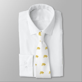 Playfully Elegant Hand Drawn Gold Actionable Bear Tie