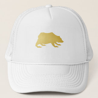 Playfully Elegant Hand Drawn Gold Actionable Bear Trucker Hat