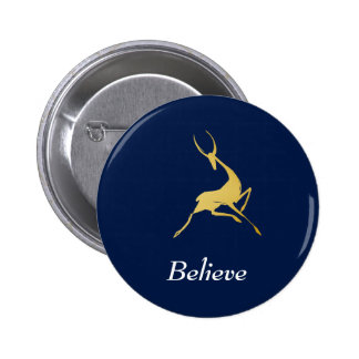 Playfully Elegant Hand Drawn Gold Gazelle 6 Cm Round Badge