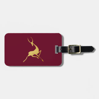 Playfully Elegant Hand Drawn Gold Gazelle Luggage Tag
