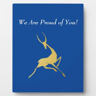 Playfully Elegant Hand Drawn Gold Gazelle Plaque