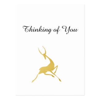Playfully Elegant Hand Drawn Gold Gazelle Postcard