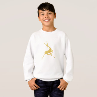 Playfully Elegant Hand Drawn Gold Gazelle Sweatshirt