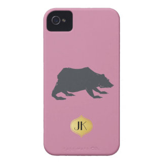 Playfully Elegant Hand Drawn Grey Actionable Bear Case-Mate iPhone 4 Cases