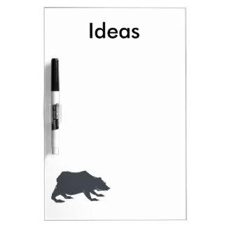 Playfully Elegant Hand Drawn Grey Actionable Bear Dry Erase Whiteboard