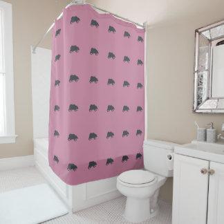 Playfully Elegant Hand Drawn Grey Actionable Bear Shower Curtain