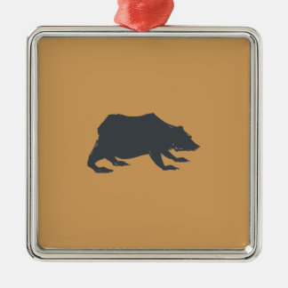Playfully Elegant Hand Drawn Grey Actionable Bear Silver-Colored Square Decoration