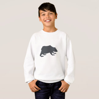 Playfully Elegant Hand Drawn Grey Actionable Bear Sweatshirt