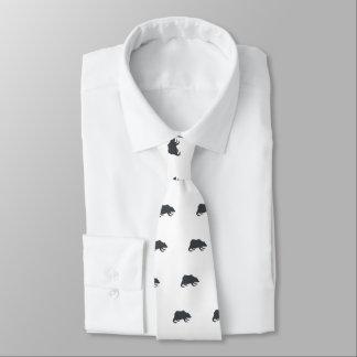 Playfully Elegant Hand Drawn Grey Actionable Bear Tie
