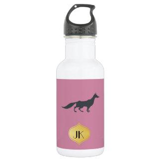 Playfully Elegant Hand Drawn Grey Fox 532 Ml Water Bottle