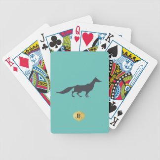 Playfully Elegant Hand Drawn Grey Fox Bicycle Playing Cards