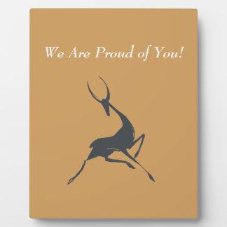 Playfully Elegant Hand Drawn Grey Gazelle Plaque