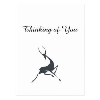 Playfully Elegant Hand Drawn Grey Gazelle Postcard