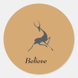 Playfully Elegant Hand Drawn Grey Gazelle Round Sticker