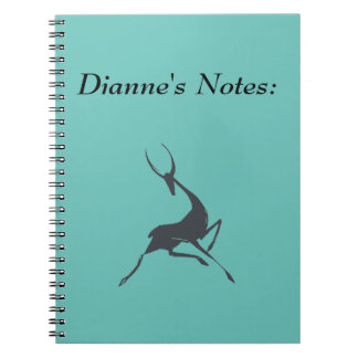 Playfully Elegant Hand Drawn Grey Gazelle Spiral Notebook