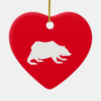 Playfully Elegant Hand Drawn White Actionable Bear Ceramic Heart Decoration