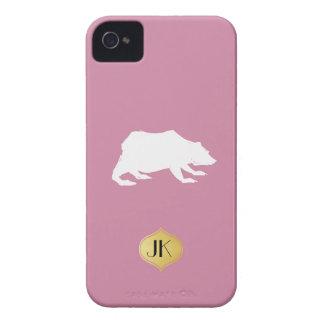 Playfully Elegant Hand Drawn White Actionable Bear iPhone 4 Case-Mate Case