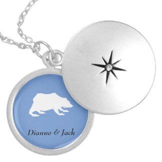 Playfully Elegant Hand Drawn White Actionable Bear Locket Necklace